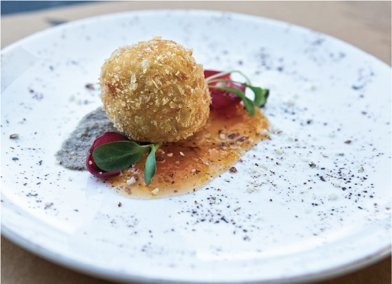 Croquette by Graviera Naxou PDO with mushroom cream
